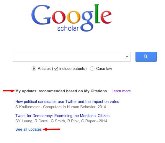 Google Scholar recommendations