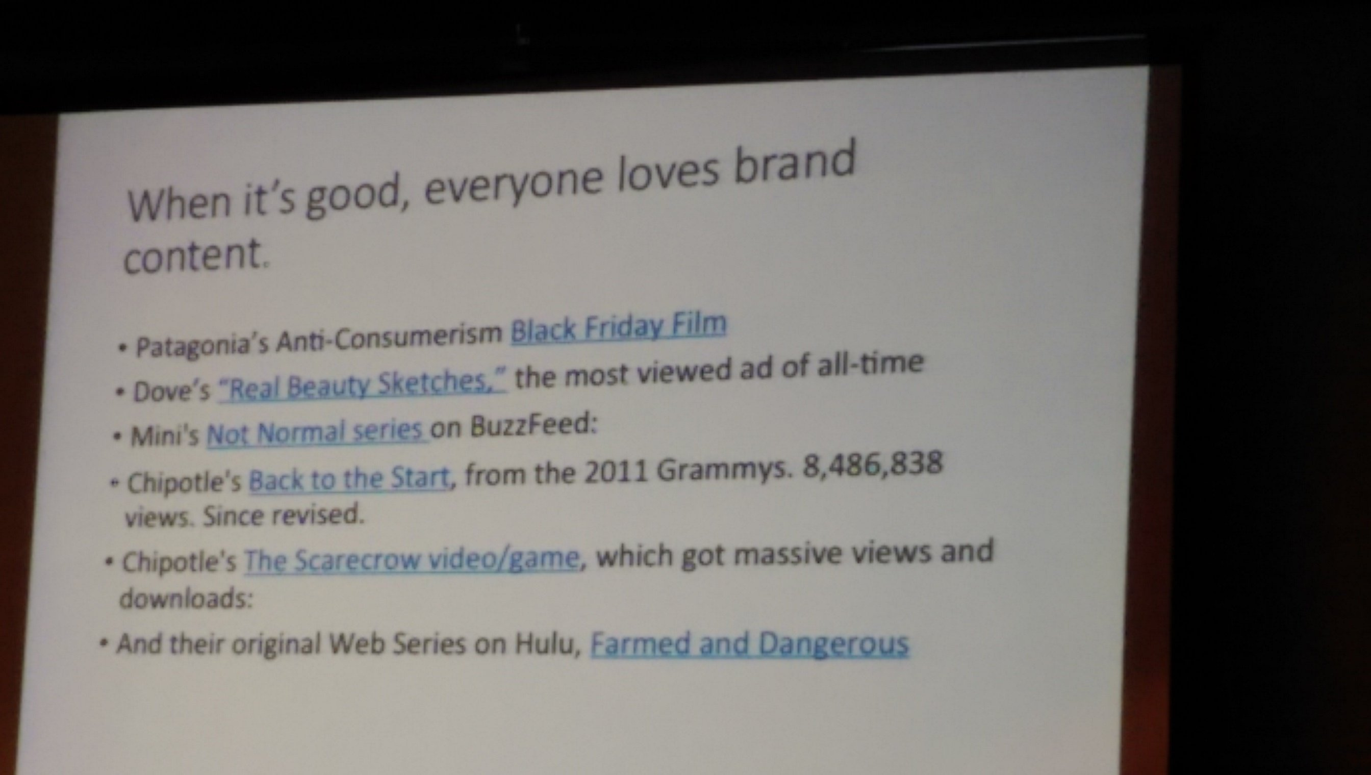 Examples of good content marketing, as presented by conference panel presenters